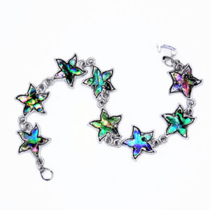 Natural Abalone Paua Shell Starfish Sea Star Bracelet Chain Link Bracelet