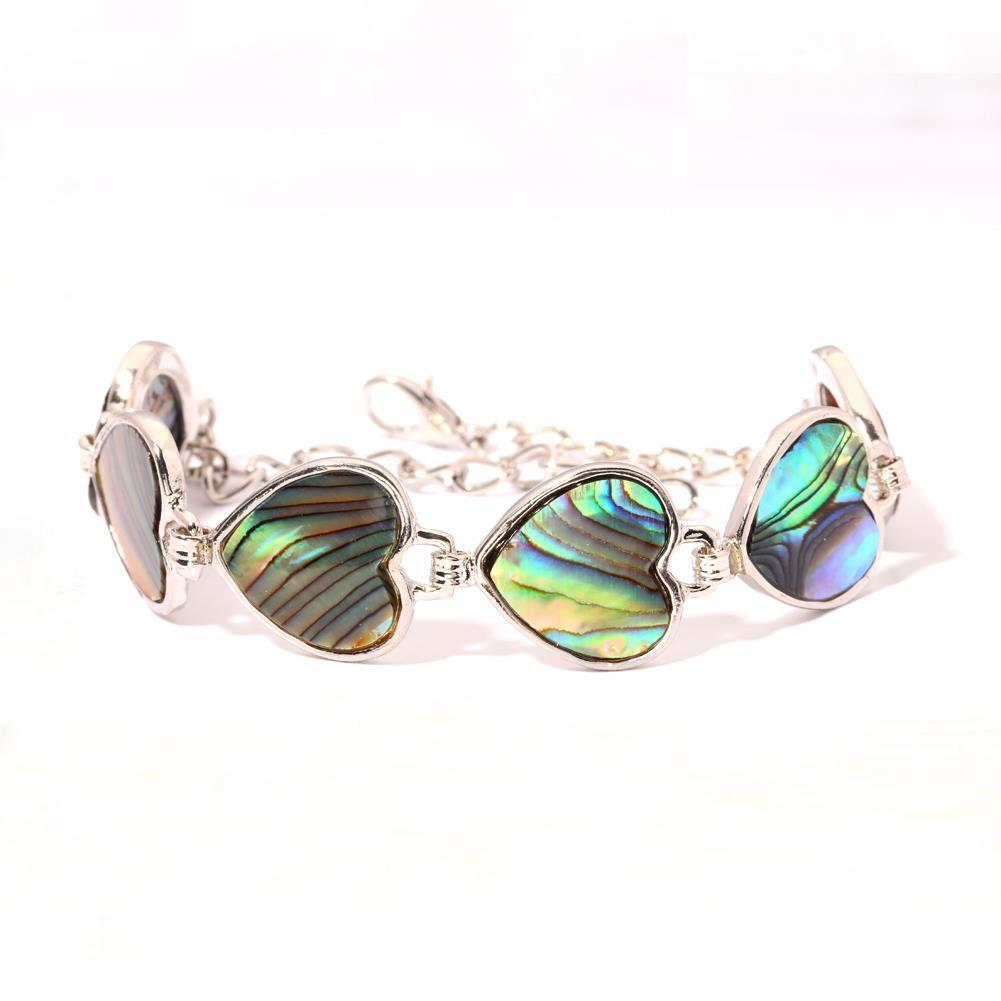 Natural Abalone Shell 925 silver Filled Women Jewelry Chain Bracelet