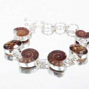 Oval Cut Quartz & Ammonite Fossil 925 Sterling Silver Bracelet Toggle Adjustable