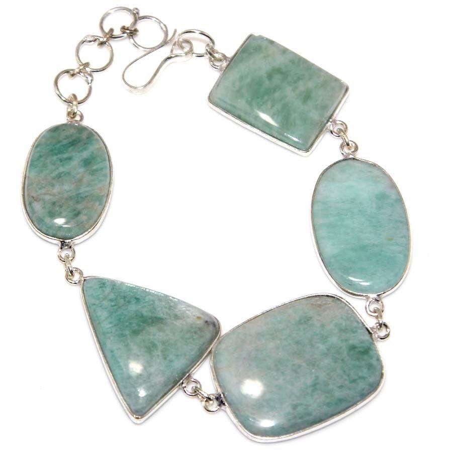Natural Amazonite Paua Shell Silver Chain Bracelet