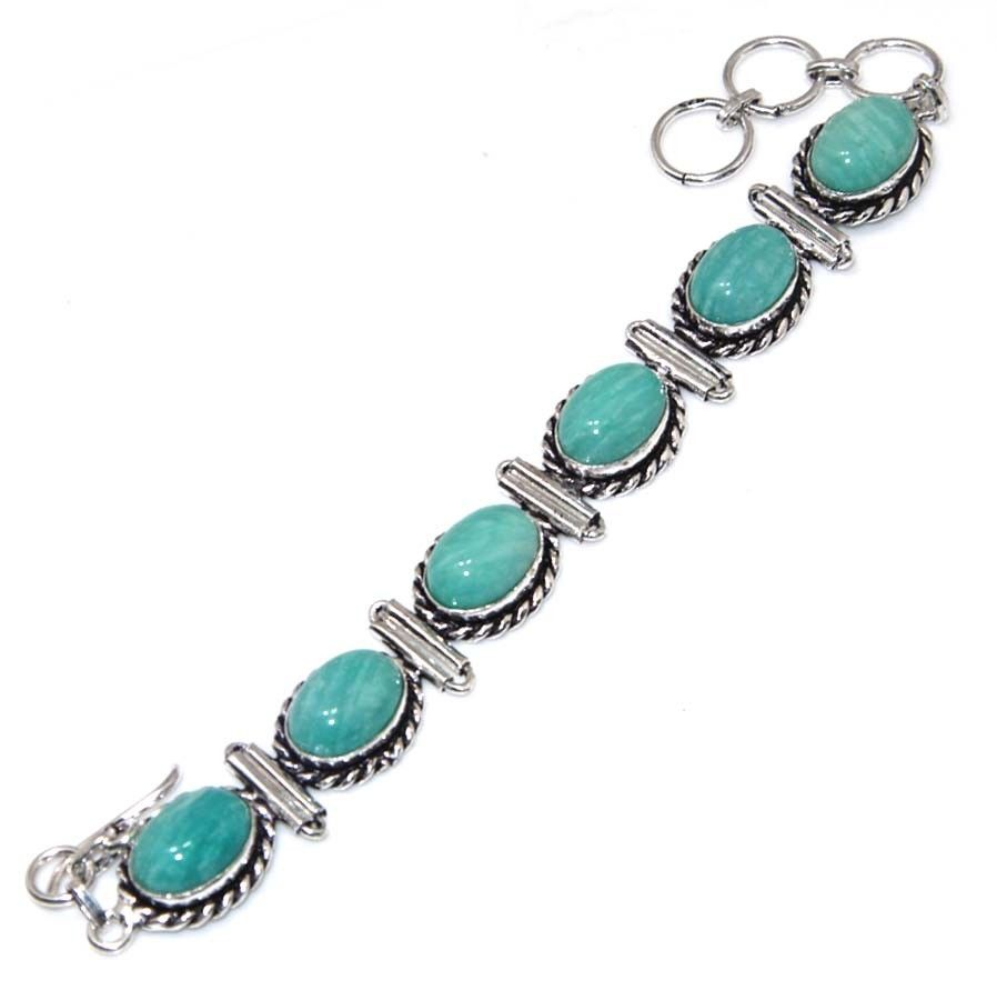 Amazonite Shell 925 Silver Chain Bracelet Gemstone
