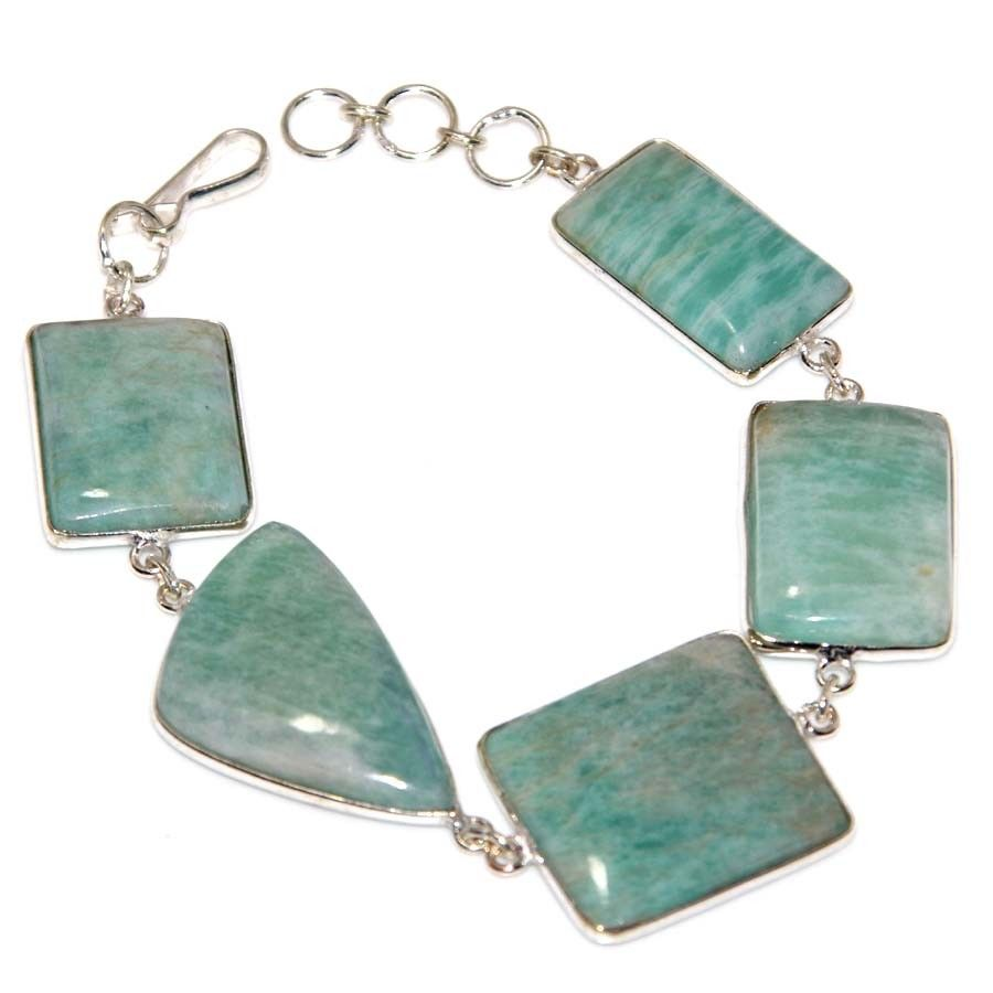 Natural Amazonite Shell 925 Silver Filled Women Jewelry Chain Bracelet
