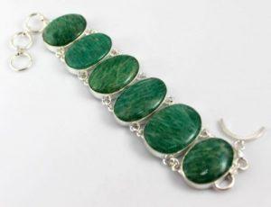 Amazonite Stone Silver Overlay Handmade Bracelet