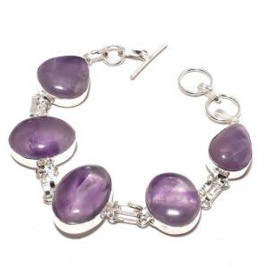 Amethyst Gemstone Ethnic Jewelry Handmade Bracelet