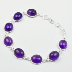 Amethyst Solid 925 Sterling Silver Bracelet Jewelry