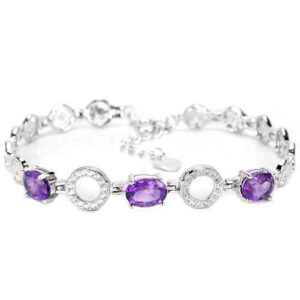 GORGEOUS NATURAL AAA PURPLE AMETHYST & WHITE  STERLING 925 SILVER BRACELET