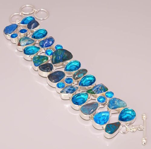 NATURAL AZURITE MALACHITE 925 STERLING SILVER PLATED BRACELET