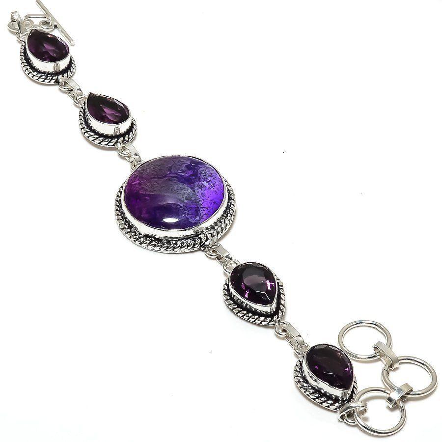 Bhuvah-2 Amethyst Gemstone Ethnic Jewelry Handmade Bracelet