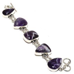 Tempting Chevron Amethyst Gemstone 925 Sterling Silver Jewelry Bracelet