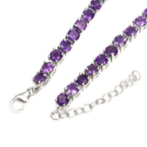 Precious Round Cut 4mm Top Rich Purple Amethyst 925 Silver Bracelet