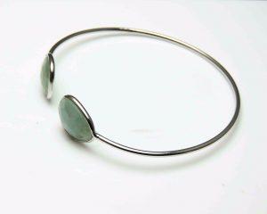 925 Sterling Solid Silver Natural Aquamarine Bangle Bracelet Gemstone Bracelet