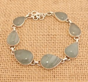 Aquamarine Gemstone 925 Silver Bracelet Indian Jewellery