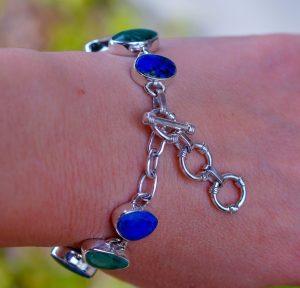 Stunning Genuine Azurite Diopside set in Solid 925 Sterling Silver Bracelet