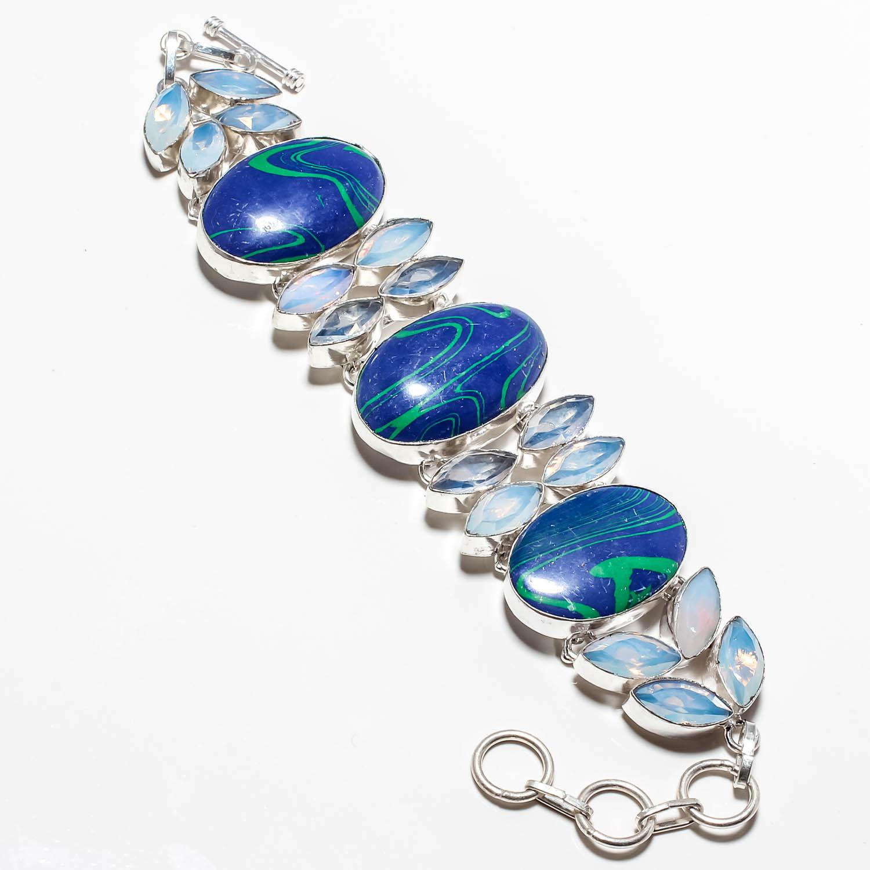 Azurite Malachite Gemstone 925 Silver Jewelry Bracelet