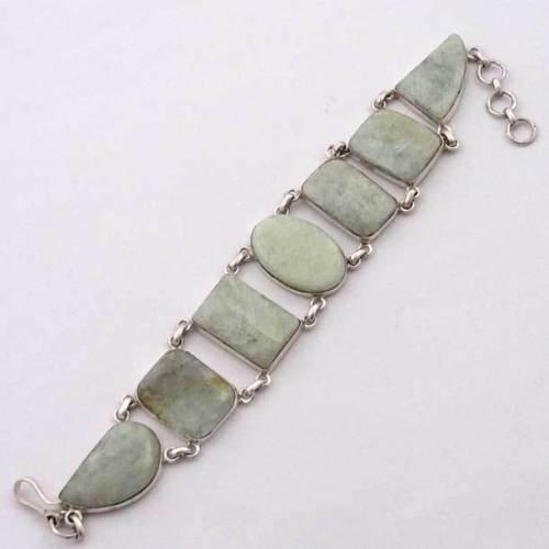 Gemstone Aquamarine Bracelet 925 Sterling Silver Handmade Jewelry India