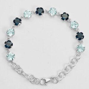 London Blue Topaz and Aquamarine 925 Sterling Silver Bracelet Jewelry
