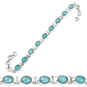Natural Blue Aquamarine 925 Sterling Silver Tennis Bracelet Jewelry