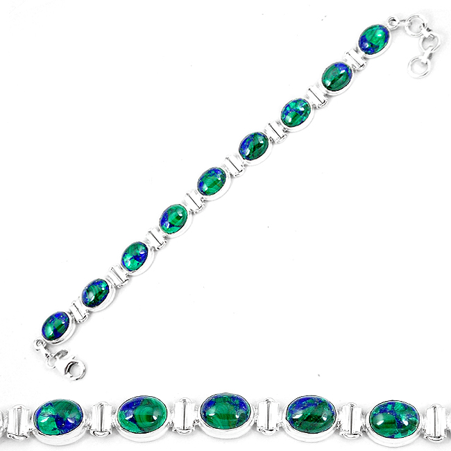 Natural Green Azurite Malachite Chrysocolla 925 Silver Tennis Bracelet