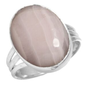 Natural Pink Aragonite Stone Ring