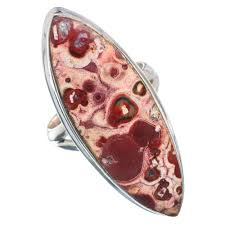 Natural Red Poppy Jasper Stone Ring