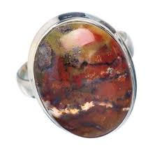 Red Plume Agate Ring