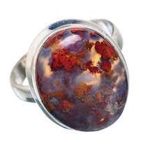 Red Plume Agate Stone Ring