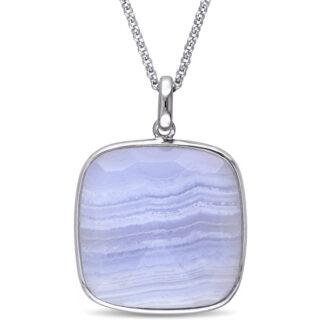 Natural Blue Lace Agate Pendant
