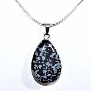 Snow Flake Obsidian Pendant