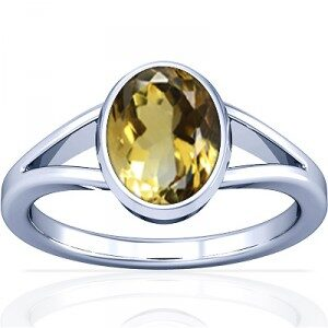Double Strand Citrine Stone Ring