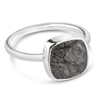 Natural Black Rutile Ring