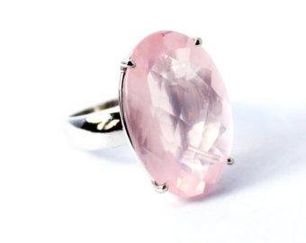 Natural oval Rose Quartz Ring Price