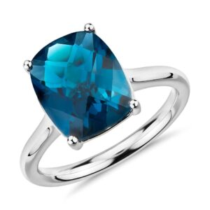 Rectangle Blue Topaz Ring Price