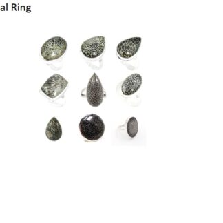 black fossil coral stone natural gemstone cabochon .925 sterling silver ring price