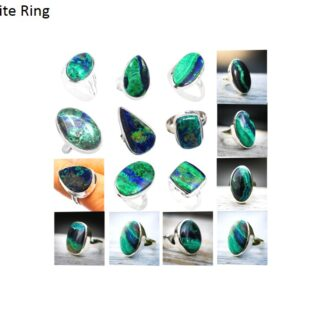 azurite malachite stone natural gemstone cabochon 925 sterling silver ring