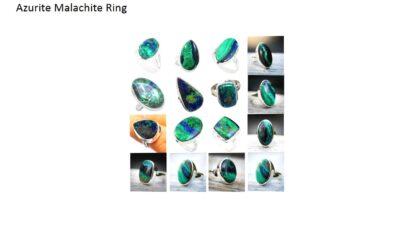azurite malachite stone natural gemstone cabochon 925 sterling silver ring