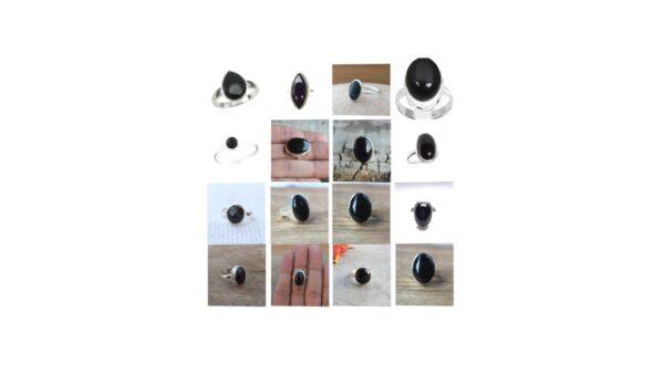 black onyx stone gemstone cabochon 925 sterling silver ring