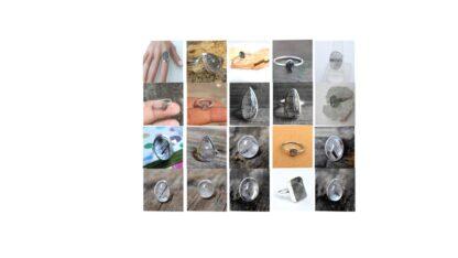 black rutile quartz stone natural-gemstone cabochon 925 sterling silver ring