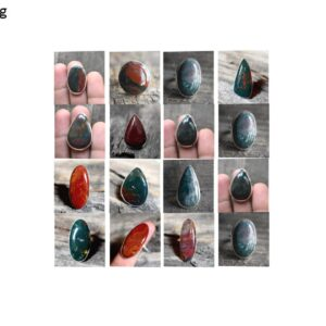 bloodstone natural gemstone cabochon 925 sterling silver ring