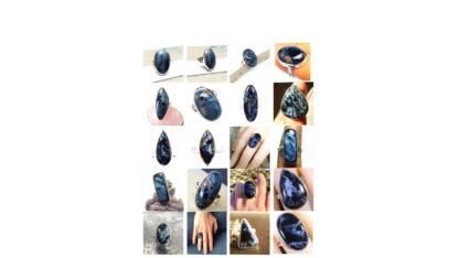 blue pietersite stone natural gemstone cabochon 925 sterling silver ring