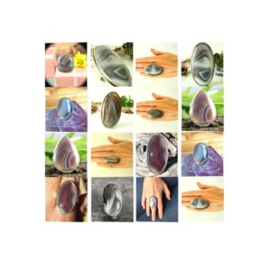 botswana agate stone natural gemstone cabochon 925 sterling silver ring