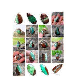 boulder chrysoprase stone gemstone cabochon 925 sterling silver ring