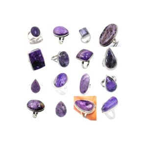 charoite stone natural gemstone cabochon solid .925 sterling silver ring