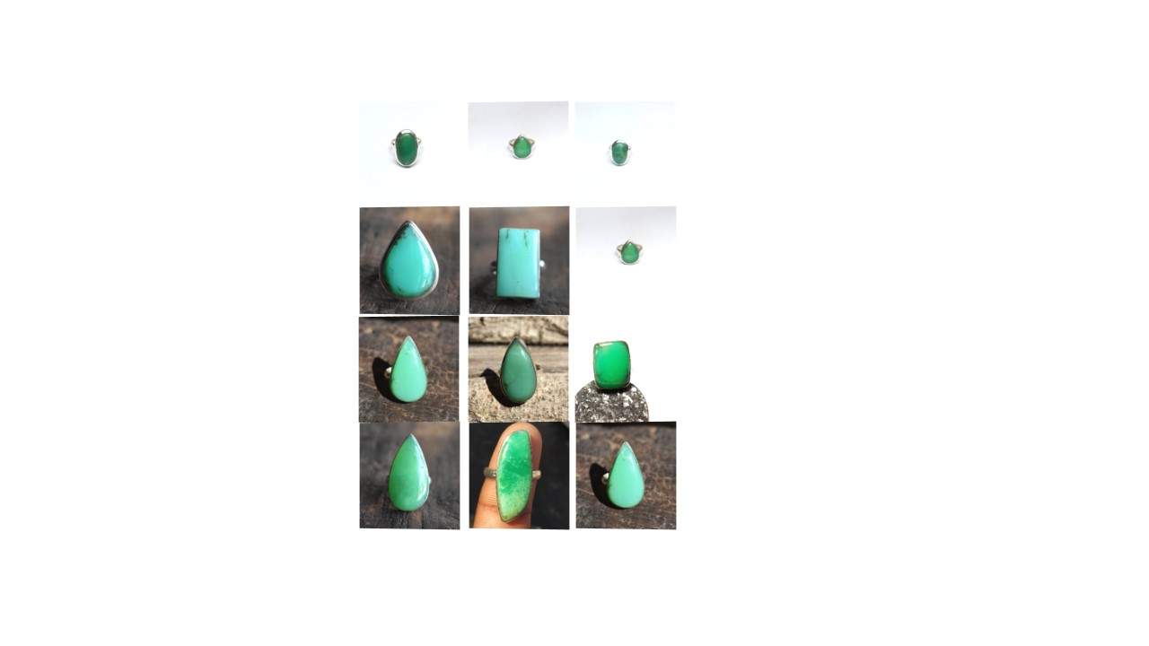 chrysoprase stone natural gemstone cabochon 925 sterling silver ring