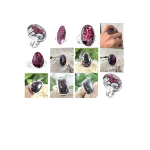 eudialyte stone natural gemstone cabochon 925 sterling silver ring