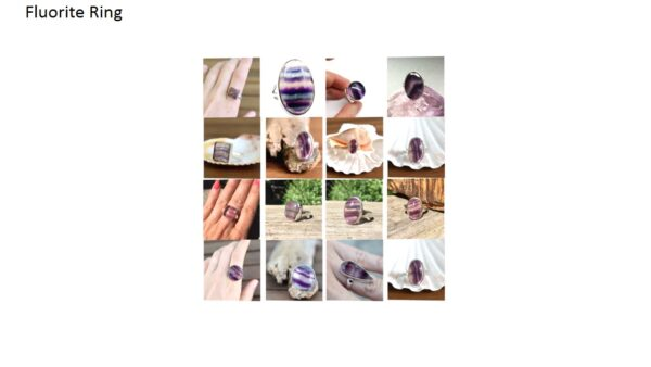fluorite stone natural gemstone cabochon 925 sterling silver ring