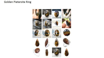 golden pietersite stone natural gemstone cabochon 925 sterling silver ring