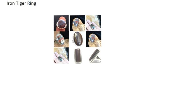 iron tiger eye stone natural gemstone cabochon 925 sterling-silver ring