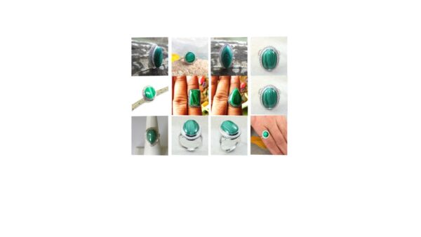 malachite stone natural gemstone cabochon 925 sterling silver designer ring