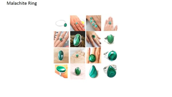 malachite stone natural gemstone cabochon 925 sterling silver ring