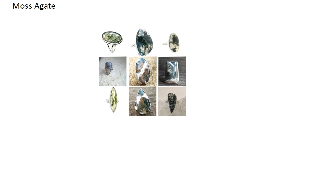 moss agate stone natural gemstone cabochon 925 sterling silver ring